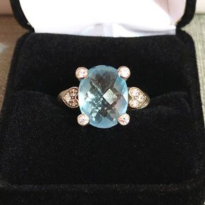 Judith Ripka blue topaz faceted 925 ring